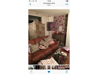 Brown Nuback two seater,chair,storage footstool from Dfs ,two years old and in good condition