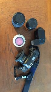 Canon T70, 35mm, 3 lens, flash and filter