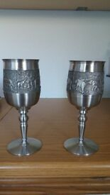 Two large Thai pewter wine goblets.