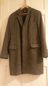 Burtons designer herringbone /grey tweed 3/4 length coat