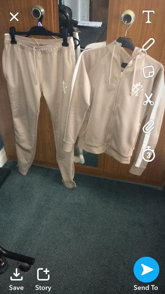NEW GYM KING SAND POLY TRACKSUIT JOGGERS HOODIE