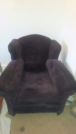 Victorian armchair, purple corduroy upholstered. Can deliver