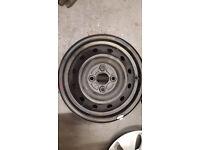 "Skoda steel wheels with silver frames 4x 14"" no tyres"