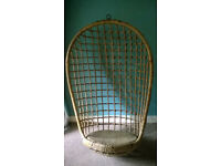 1950's Rattan Wicker Hanging Basket Chair Swap and Open to Offers