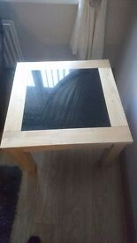 Lamp table oak light oak with black slate insert 26 inches square 20inches high in good condition