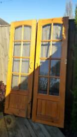 """Hard wood, glazed internal french doors with brass fittings 6'.6"""" X 2'.11"""" each"""