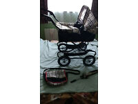 Mamas and Papas Toy Pram, as new and Toy Wooden High Chair, as new