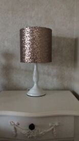 White Bedside Lamp With Gold Shade And 2 Gold Cushions