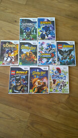 9 x WII games - 4 x Sonic, 2 x Batman, Scooby Do and 1 Smurfs - collect from Fleet or Wokingham