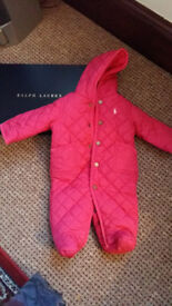 Brand New Ralph lauren pink girls snow suit, size 3 Months. Never been worn and comes in box.