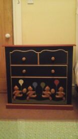 Gorgeous child's chest of drawers with wooden teddybears on front