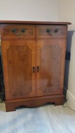 Yew Finished Hi-Fi Cabinet with three shelves