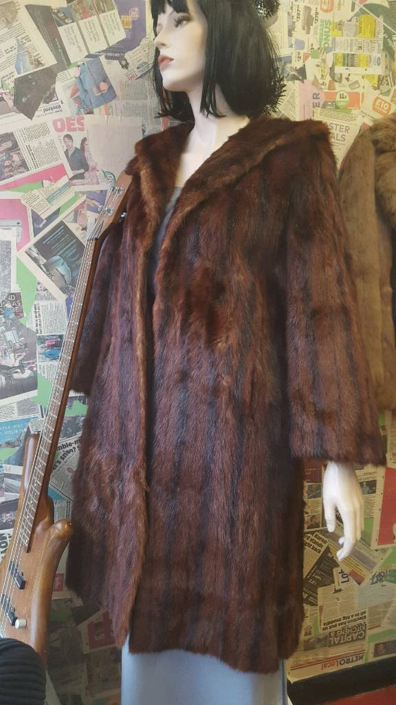 100% genuine real mink fur coat size medium