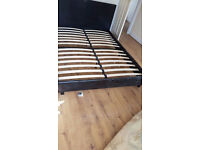 King size black faux leather padded bed frame with sponge mattress