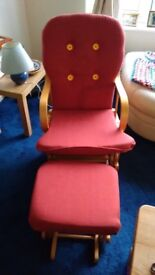 Nursing/Rocking Chair & Matching Stool Red VGC Collection Only