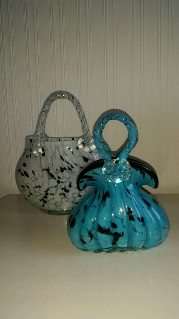 Two Gorgeous Glass Handbag Ornaments