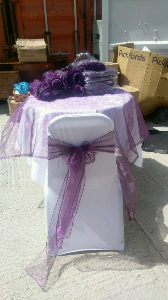 Purple shimmy organza sashes new and used