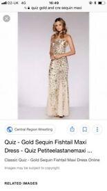 Quiz gold and cream beaded maxi dress