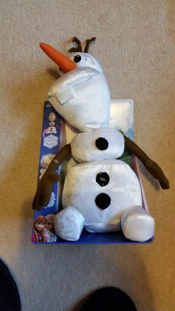 "NEW! Disney Frozen OLAF the SNOWMAN pull apart 15/"" talking plush soft toy"