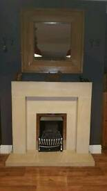 Solid Limestone Fireplace and Hearth