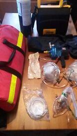 Defibrillator, oxygen bottle masks and emergency Aspirator MEDASIL AIRWAY AND 2 OXYGEN BAGS