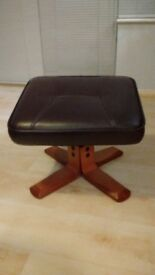 Footstool chocolate brown faux leather