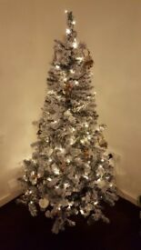6FT artificial snowy tree lights included