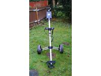 Pull golf trolley, lightweight, aluminium. Good starter trolley or to have as a spare