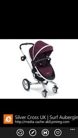 Silvercross Surf Aubergine Travel System...includes pram, chassis, carseat, covers, and accessories
