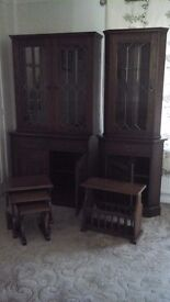 Wall Unit/Display Dressers, Nest of 3 Tables & Magazine Rack