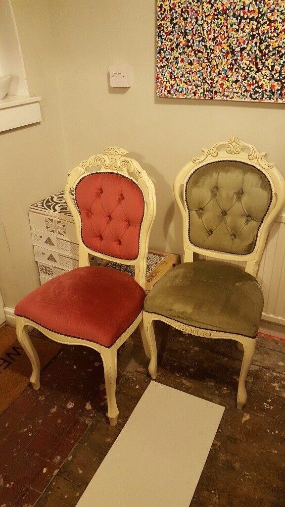 Pair of velvet covered shabby chic chairs