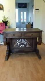 Hand made table with two draws