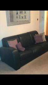 Barker and Stonehouse Black Leather 3 and 2 seater sofas