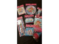 Mermaid party tableware, plates, cups, napkins, hats, banners, party bags and blowouts for 10 kids
