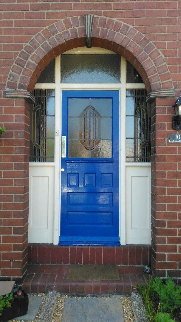 1930s Solid Timber Front Door And Frame Stained Glass Windows