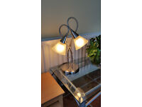 Frosted Chrome Single Wall Lights x 3 and Table Lamp
