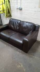 Two 2 seaters brown leather sofas