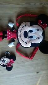 Minnie mouse backpack and purse
