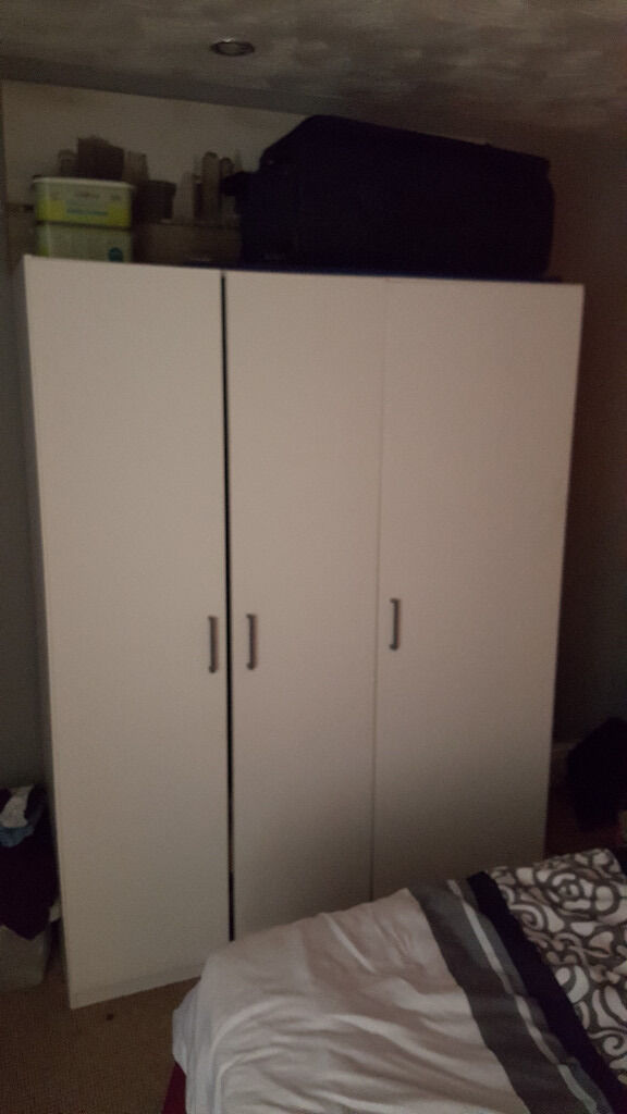 White bedroom furniture for salein Bury, ManchesterGumtree - Hi, i have these 3 items for sale. 3 door wardrobe is from ikea and the other 2 came from argos. All 3 in good condition. Need them to be collected by this friday as im moving home. I want £40 for the ikea wardrobe and £60 for the argos wardrobe...