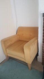 John Lewis velvet chair mustard