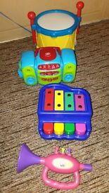 Musical toys bundle- CD player,drum,piano,trumpet