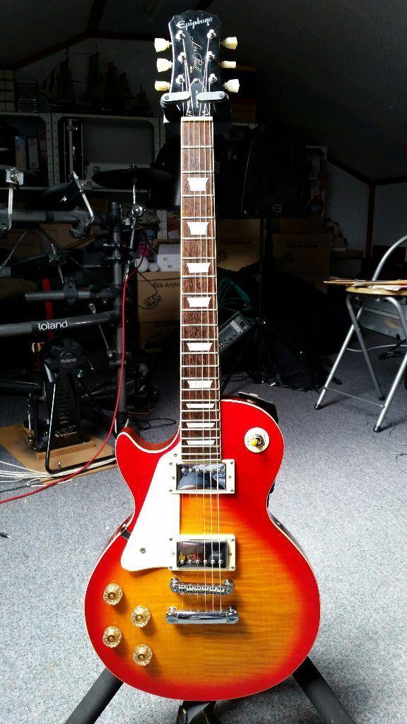 left handed lefty epiphone by gibson 1998 korean made sunburst les paul standard electric guitar. Black Bedroom Furniture Sets. Home Design Ideas