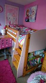 BED, SINGLE, Mid sleeper, single bed, pine bed, mattress, bed, desk