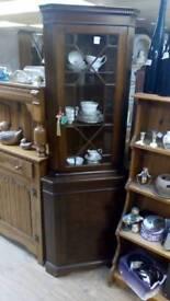 Oak corner vintage Display cabinet