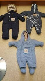 Mixed sized snow suits