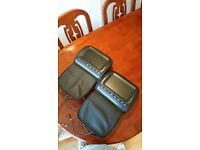"""MEOS Universal 2 x 9"""" Leather-Style Car DVD Headrests Screen/SD/USB"""