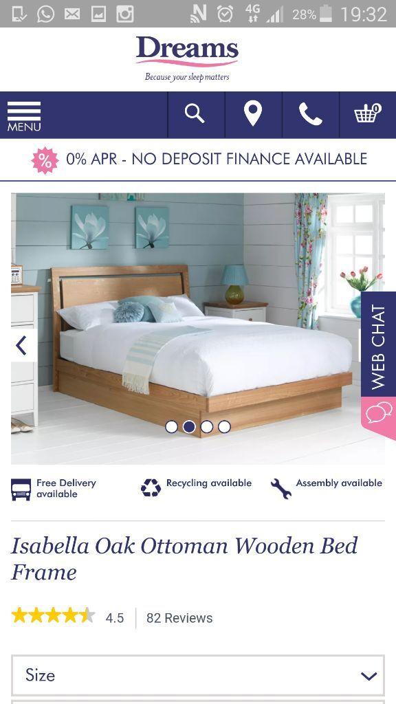 Isabella Oak Ottoman Wooden Bed Frame GBP200