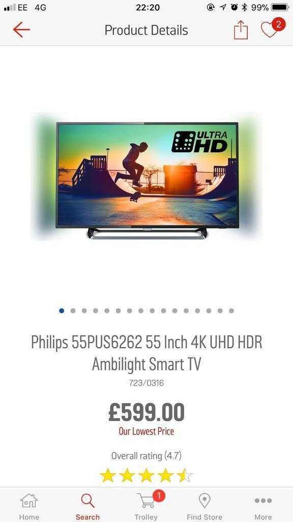55 inch Phillips ambilight smart TV in the box