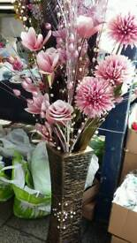 Job lot artificial flowers, decoration stuff and vases for sale