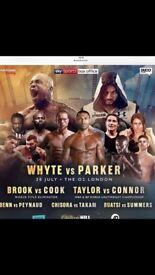2 front row tickets Dillian Whyte v Joseph Parker and hotel for sale